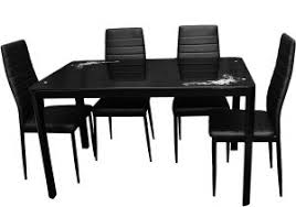 zena metal and gl dining table set with 4 chairs black 130 cm x 80 cm x 74 cm
