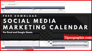 Social Media Marketing Calendar Template For Excel Free
