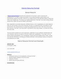 Resume Format For Dance Choreographer Resume Format For Dance Teacher Inspirational Professional Dance 18