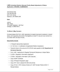 sample of aos cover letters sample cover letter for adjustment of status i 130 2 form in well