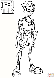 Small Picture Teen Titans Robin Coloring Page Free Printable Coloring Pages
