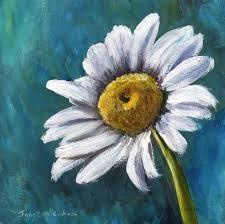 daisy original acrylic fl painting white flower gift idea colourful