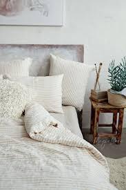 striped linen duvet cover in natural nz 2