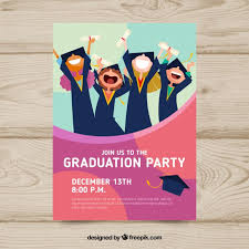 graduation announcements free downloads graduation invitation template with flat design vector free download