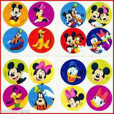 Details About Mickey Mouse Mini Dot Stickers X 8 Sheets 32 Dots Minnie Goofy Donald Reward
