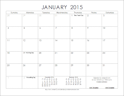 January 2015 Calendar Template Best Photos Of 2015 Only Printable Monthly Calendar