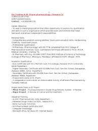 Sample M Pharm Fresher Resumes Pharmacology Pharmacy