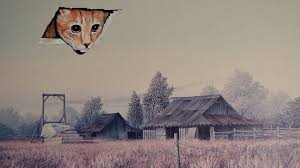 a cat ring out of the sky at a building in a charity painting
