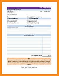 Simple Estimate Template 11 12 Excel Estimates Templates Elainegalindo Com