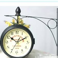 pictures show living room wall clocks wood metal hanging silent round double sided