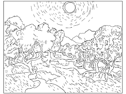 Small Picture Print Adult Van Gogh Starry Night Coloring Pages New Starry Night