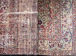 oriental rug repair image shows damaged antique rug both before repair and after expert restoration link oriental rug repair