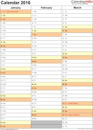 Calendar 2016 (UK) - 16 free printable Word templates