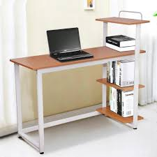 com yaheetech wood corner computer desk pc laptop table workstation with 4 tiers shelves brown kitchen dining