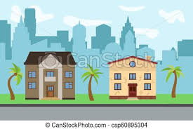 Vector City With Two Two Story Cartoon Houses And Palm Trees In The Sunny Day