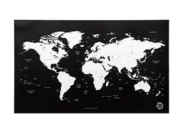 Amazon Com Black And White World Map Unique Design Poster Print