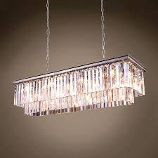 rectangle glass chandelier led restaurant crystal