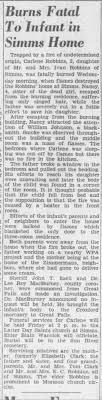 Carlene Robbins dies in house fire (why my middle name is Carlene, and  cousin's name is Carlene. - Newspapers.com