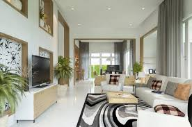 modern living room with high ceiling