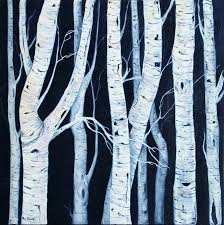 birch trees acrylic painting deep canvas