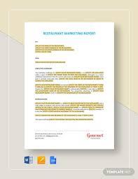 Restaurant Marketing Report Template Word Google Docs
