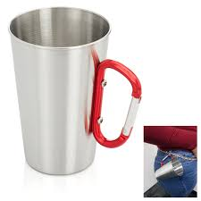 Stainless Steel Mug 15oz Outdoor Camping Coffee Cup Carabiner Hook Travel  Picnic