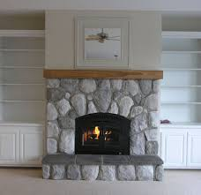 stone fireplace bath