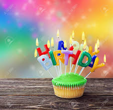 Colorful Happy Birthday Cupcakes With Candles Stock Photo Picture