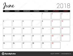 June 2018 Printable Calendar Planner Design Template Week Starts