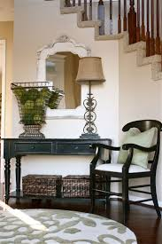 hallway table and mirror. An Elegant White And Weathered Wood Mirror Hung Near The Stairs In Entryway Hallway Table L