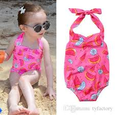 2018 Pink Swimsuit Kids Baby Girls Watermelon One Piece Swimwear ...