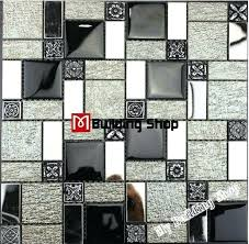 stainless steel and glass mosaic backsplash black white kitchen wall tiles