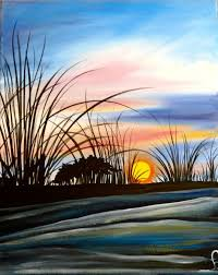 sunrise on the island painting with a twist