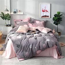 queen size duvet cover pineapple flamingo grey winter sets flannel fleece bed covers bedding pillowcases set queen size duvet cover