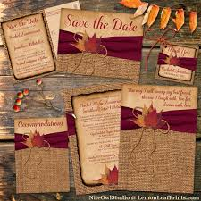 best 25 fall wedding invitations ideas only on pinterest maroon Diy Wedding Invitations Fall Theme rustic country wedding invitation autumn leaves on faux burlap, printed wine ribbon Fall Color Wedding Invitations
