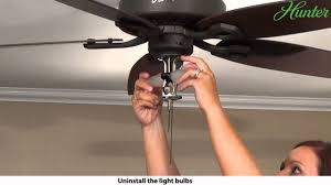 how to remove a light kit from your hunter ceiling fan 5 series model fans you