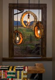 Rustic Home Lighting Wow Love These Light Fixtures Made Out Of Tree Trunks Rustic Home Lighting T