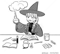 実験に失敗した魔法使いの女の子のイラストのイラスト素材 32312422