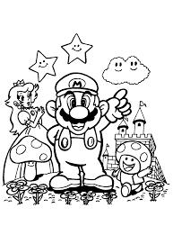 Prinses Paddestoel En Mario Super Mario Coloring Pages Free