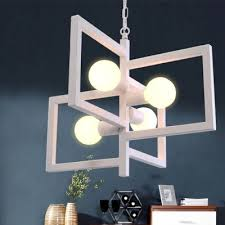 industrial 4 light chandelier with square metal frame white
