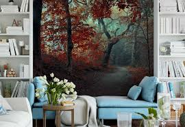 the red forest wallpaper mural