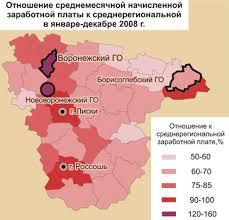 Социально экономическое развитие Воронежской области  Рис 5 Отношение среднемесячной начисленной заработной платы к среднерегиональной в январе декабре 2008 г