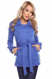 royal blue knit double ted oned belted peacoat