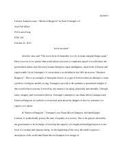 harrison bergeron essay ciarra mcgee professor m da english harrison bergeron 6 pages literary analysis essay
