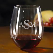 monogrammed wine enthusiast cabernet stemless wine glasses set of 4 wine enthusiast