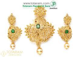 22k gold uncut diamond pendant drop earrings set with ruby 235 dps095