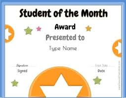 Student Of The Month Certificate Templates Free Student Of The Month Certificate Customize With Your