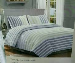 full image for nicole miller bedding 3 piece full queen duvet cover gray yellow stripe white