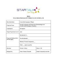 Teacher Curriculum Template Teacher Program Curriculum Template Startalk