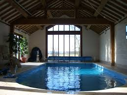 Vintage Residential Indoor Pool Inspiration Feat Wooden Beam Ceiling And  Small Potted Plants Plus Large Window ...